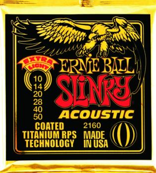 Ernie Ball Coated Slinky Acoustic Guitar Strings, Extra Light (10 - 50) (EB-2160)