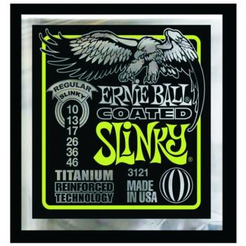 Ernie Ball Coated Electric Guitar Strings, Regular Slinky (10 - 46) (EB-3121)