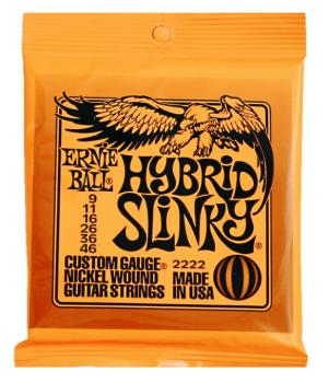 Ernie Ball Nickel Wound Electric Guitar Strings, Hybrid Slinky (9 - 46) (EB-2222EB)