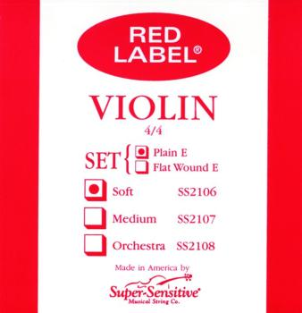 Super Sensitive Red Label Violin String Set, Soft Tone 4/4 (SU-0012106)