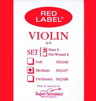 Super Sensitive Red Label Violin String Set, Medium Tone 4/4 (SU-0012107)