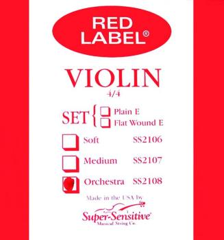 Super Sensitive Red Label Violin String Set, Orchestra Tone 4/4 (SU-0012108)