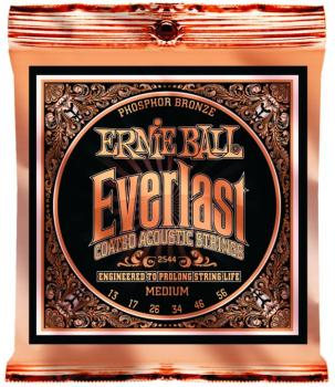 Ernie Ball Everlast Coated Phosphor Bronze Acoustic Guitar Strings, Medium 17 - 56 (EB-2544)