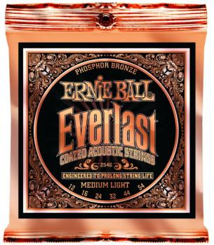 Ernie Ball Everlast Coated Phosphor Bronze Acoustic Guitar Strings, Medium-Light 12 - 54 (EB-2546)