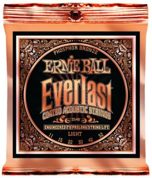Ernie Ball Everlast Coated Phosphor Bronze Acoustic Guitar Strings, Light 15 - 52 (EB-2548)