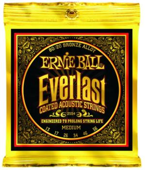 Ernie Ball Everlast Coated 80/20 Bronze Acoustic Guitar Strings, Medium 13 - 56 (EB-2554EB)