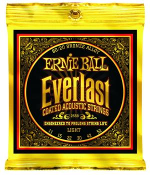 Ernie Ball Everlast Coated 80/20 Bronze Acoustic Guitar Strings, Light 11 - 52 (EB-2558EB)