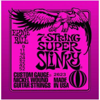 Ernie Ball Nickel Wound 7 String Electric Guitar Strings, Super Slinky (9 - 52) (EB-2623)