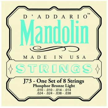 D'Addario Phosphor Bronze Mandolin Strings, Light (10 - 38) (DD-J73)