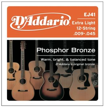 D'Addario 12-String Phosphor Bronze Guitar Strings, Extra Light (DD-EJ41)