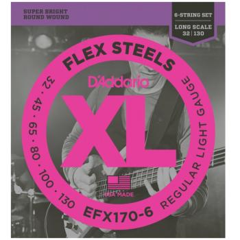 D'Addario EFX170-6 FlexSteels Long Scale 6 String Bass Strings, Light (DD-EFX1706)