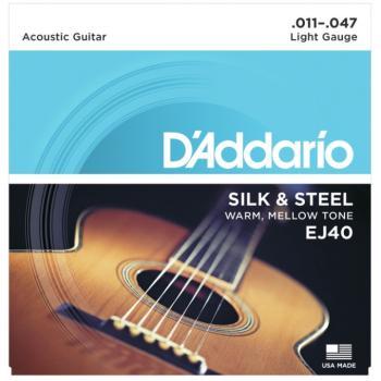 D'Addario EJ40 Silk & Steel Folk Acoustic Guitar Strings, (11 - 47) (DD-EJ40)