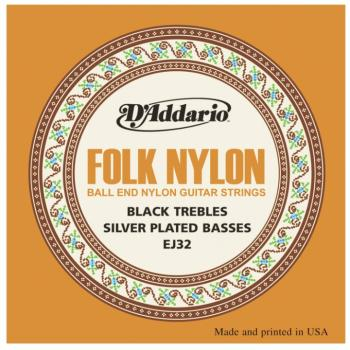 D'Addario Folk Nylon Ball End Silver Wound/Black Nylon Trebles Classic (DD-EJ32)