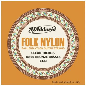 D'Addario Folk Nylon Ball End 80/20 Bronze/Clear Nylon Trebles Classic (DD-EJ33)