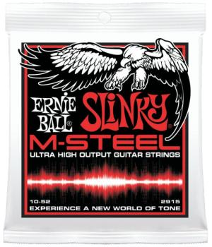 Ernie Ball M-Steel Skinny Top Heavy Bottom Slinky Electric Guitar Strings, 10 - 52 (EB-2915)