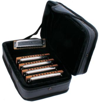 Hohner Case of Blues Harps - 5 Piece Harmonica Set with Carrying Case (HH-COB)
