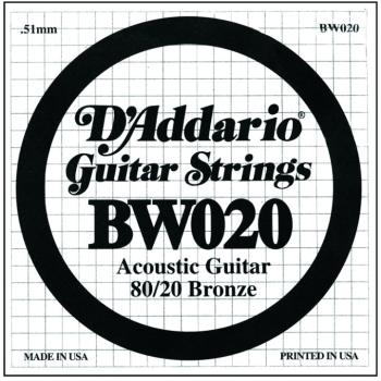 D'Addario 80/20 Bronze Single Strings, .020 (5) (DD-BW020)