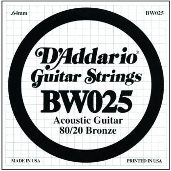D'Addario 80/20 Bronze Single Strings, .025 (5) (DD-BW025)