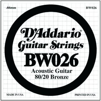 D'Addario 80/20 Bronze Single Strings, .026 (5) (DD-BW026)