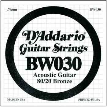 D'Addario 80/20 Bronze Single Strings, .030 (5) (DD-BW030)