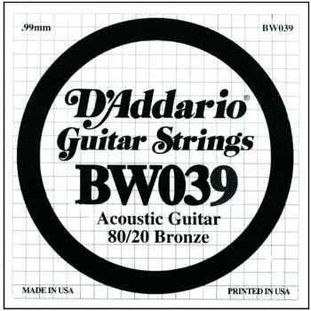 D'Addario 80/20 Bronze Single Strings, .039 (5) (DD-BW039)