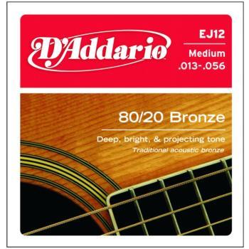 D'Addario 80/20 Bronze Acoustic Strings, Medium (DD-EJ12)