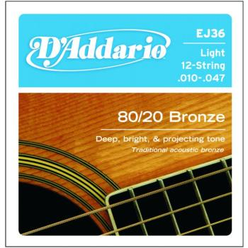D'Addario 80/20 Bronze Acoustic , 12 String, Light (DD-EJ36)