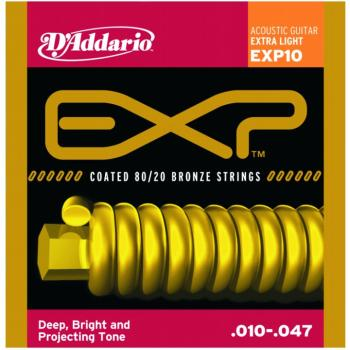 D'Addario EXP Coated 80/20 Bronze Acoustic, Ex. Lt (DD-EXP10)