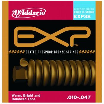 D'Addario EXP Coated Phos. Bronze 12 String, Light (DD-EXP38)