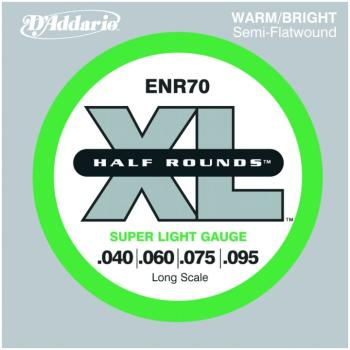 D'Addario Half Round Bass Strings, Super Light (DD-ENR70)
