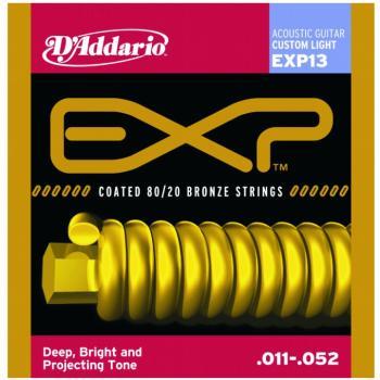 D'Addario EXP Coated 80/20 Bronze Acoustic, Cus Lt (DD-EXP13)