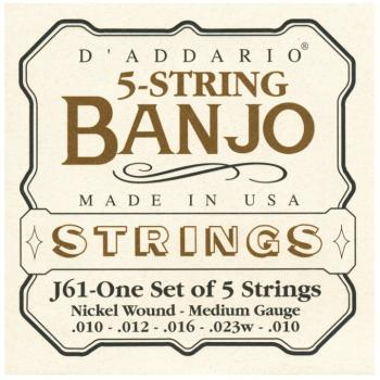 D'Addario Nickel Wound 5 String Banjo Strings, Med (DD-J61)