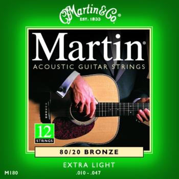 Martin 80/20 Bronze Acoustic Strings, 12 St, Ex Lt (MA-M180)