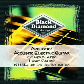 Black Diamond Silver Plated Acoustic Strings, Lite (BD-N754L)