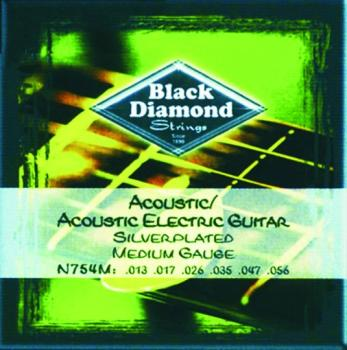 Black Diamond Nickel Wound Acoustic Strings, Med. (BD-N754M)