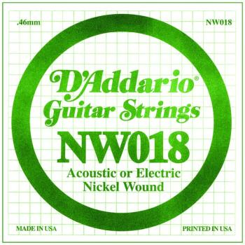 D'Addario Nickel Wound Single Strings, .018 (5) (DD-NW018)