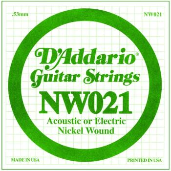 D'Addario Nickel Wound Single Strings, .021 (5) (DD-NW021)