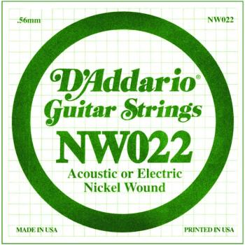 D'Addario Nickel Wound Single Strings, .022 (5) (DD-NW022)