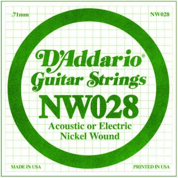 D'Addario Nickel Wound Single Strings, .028 (5) (DD-NW028)