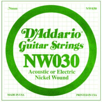 D'Addario Nickel Wound Single Strings, .030 (5) (DD-NW030)