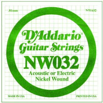 D'Addario Nickel Wound Single Strings, .032 (5) (DD-NW032)