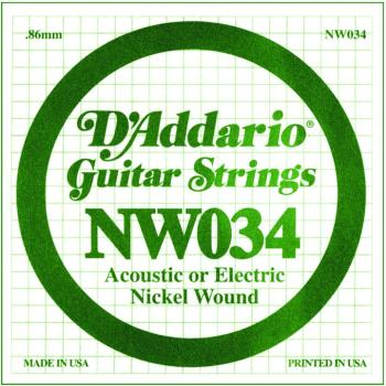 D'Addario Nickel Round Wound Single Strings, .034 (DD-NW034)