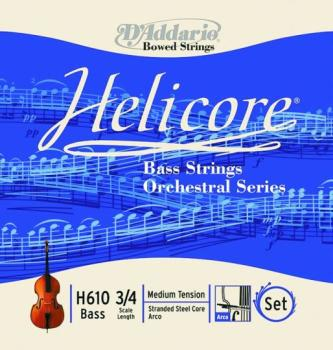Helicore Orchestral Bass String Set, 3/4 & 4/4 (HC-H610)