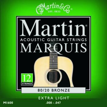 Martin Marquis 80/20 Bronze Strings, 12 St, Ex Lt (MA-M1600)