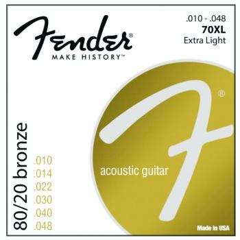 Fender 80/20 Bronze Acoustic Guitar Strings, Extra Light (10 - 48) (70XL)