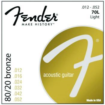 Fender 80/20 Bronze Acoustic Guitar Strings, Light (12 - 52) (FE-0730070403)