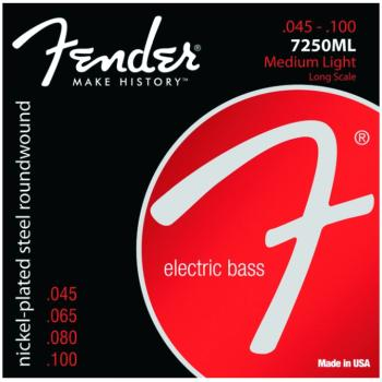 Fender Nickelplated Steel Roundwound Electric Bass Strings, Light (45 - 100) (FE-0737250405)