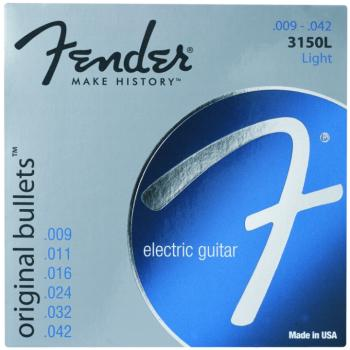 Fender 3150L Original Bullets Pure Nickel Wound Electric Guitar Strings, Light (9  - 42) (0733150403)