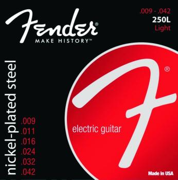 Fender 250L Super 250s Nickle Plated Steel Wound Electric Guitar Strings, Light (9 - 42) (FE-0730250403)