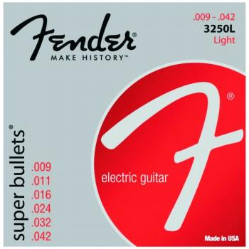 Fender 3250L Super Bullets Nickel Plated Electric Guitar Strings, Light (9 - 42) (FE-0733250403)